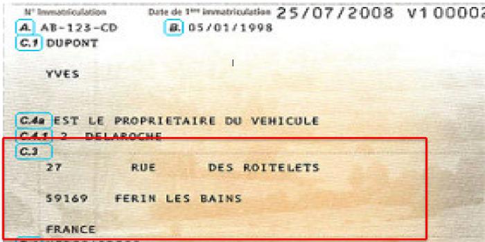 تغيير العنوان على الكرت جريز للسيارة في فرنسا